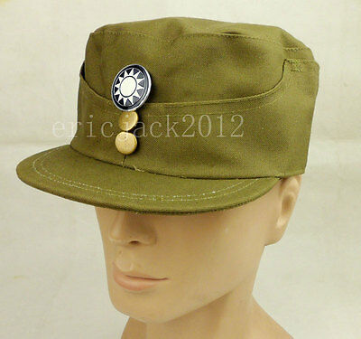 WWII Chinese KMT Army Officer Cap Hat & Badge Size L/58CM-D1018