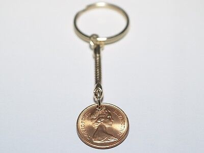 1971 one pence 1p Coin 46th Birthday Keyring - Great Gift 46th 1971 one pence 1p