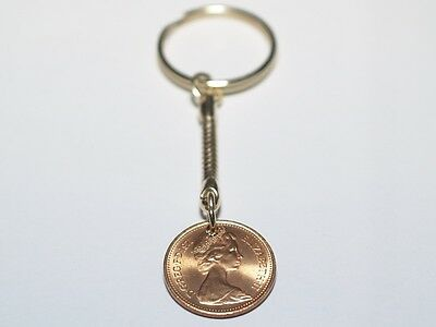 1971 one pence 1p Coin 49th Birthday Keyring - Great Gift 49th 1971 one pence 1p