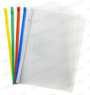 4 X A4 Plastic Clear Wallet Zip & Seal File Folder Envelope Waterproof Bags