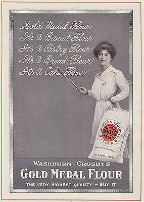 Antique Advertisement - GOLD MEDAL FLOUR - 1917  Baking, Costume, Apron