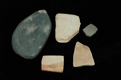 lot of 5 Ancient Hohokam unDrilled stone Pendant  800-1200 AD  NAA-136
