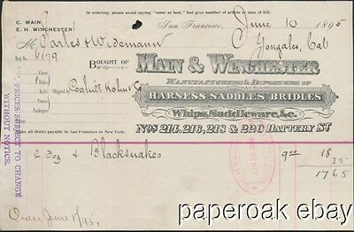 1895 Main & Winchester Saddles & Harness Dealers San Francisco Bill Head
