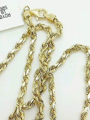 14k Solid Yellow Gold Diamond Cut Twist Rope Necklace Pendant Chain 3.5mm 18-30""