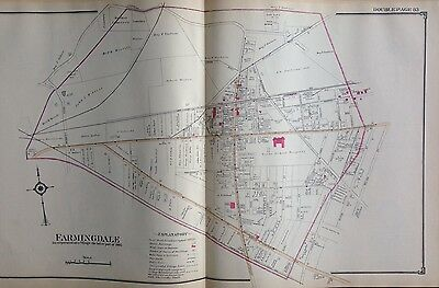 1914 Atlas Map Farmingdale Amityville Cold Spring Harbor Long Island New York