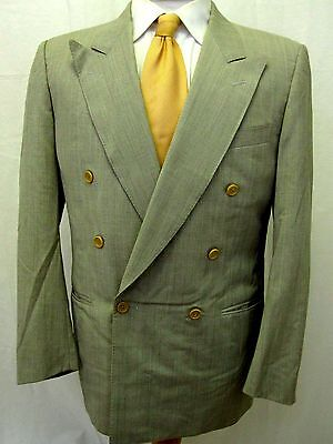 Canali Blazer 40R Gray Plaid Double Breasted 100% Wool Sports Jacket Coat Mens