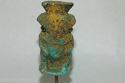 Ancient Blue Faience figurine of Bes mounted 300bc-300ad