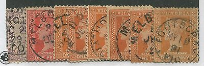 Victoria Used Stamps 8 Copies Cds Cancels