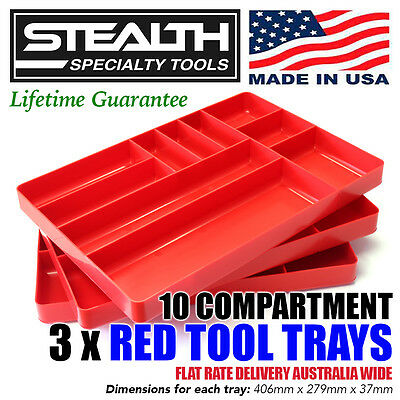STEALTH 10 Compartment Red Tool Tray Drawer Organiser Stackable Tool Container
