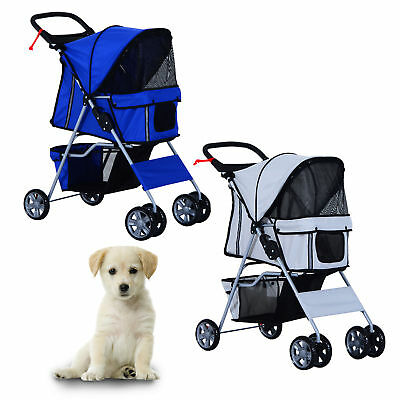 Pet Stroller Cat Dog Jogger Puppy Pushchair Travel Cart Carrier Walk 4 Wheels