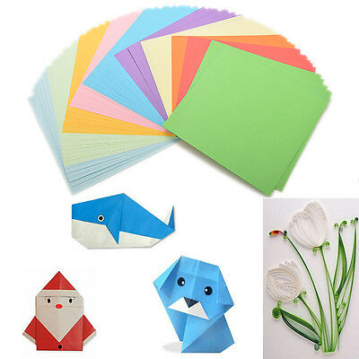 100x Origami Square Paper Double Sided Coloured Sheets Folded Paper Craft DIY