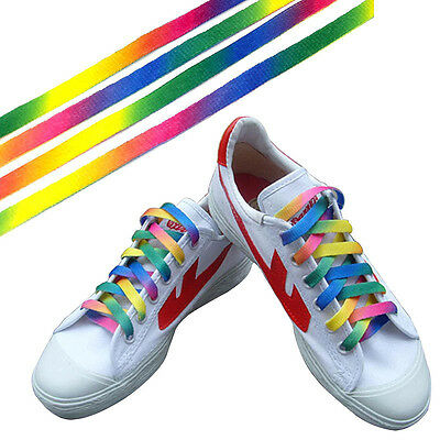 1Pair Rainbow Flat Canvas Athletic Shoelace Sport Sneaker Shoe Laces Strings NEW