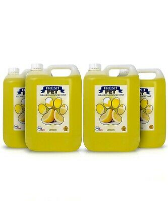 4 X 5L FRESH PET Kennel/Cattery Disinfectant, Cleaner, Deodoriser -LEMON FRESH
