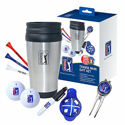 Golf Gift Set PGA Tour Mug- Thermal Travel Cup Tees Balls - 7 Piece Present Idea