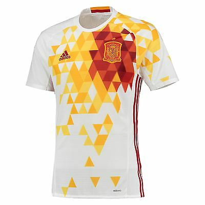 adidas Mens Spain Football Team Away Shirt Jersey Kit Top Tee Euro 2016 White