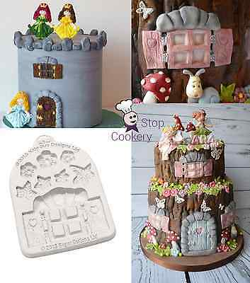 Katy Sue Designs Sugar Buttons ENCHANTED WINDOW & FLOWERS Cake Silicone Mould