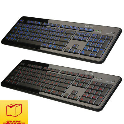 LogiLink Beleuchtet Tastatur blau orange PC Keyboard USB / Deutsches Layout