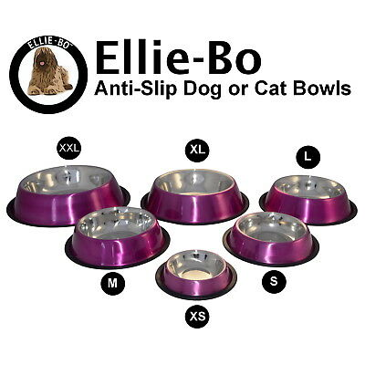 Ellie-Bo Pink Anti Skid Dog or Cat Feeding Food Water Bowl Available In 6 Sizes