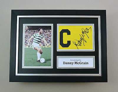Danny McGrain Signed A4 Photo Framed Captain Armband Celtic Autograph Display