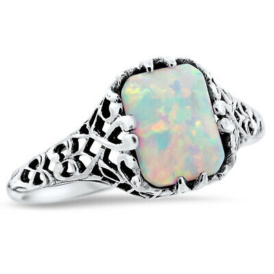 White Lab Opal .925 Sterling Vintage Antique Design Silver Ring Size 6.75,#773