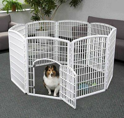 Animal Exercise Pen Pet Play 8 Panel Puppy Dog Cage Large Open Gate Fence Kennel