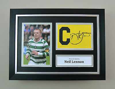 Neil Lennon Signed A4 Photo Framed Captain Armband Celtic Autograph Display COA