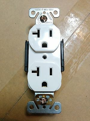 (100 pc) NEW Standard Duplex Receptacles 20 Amp WHITE 20A Commercial Grade CR20