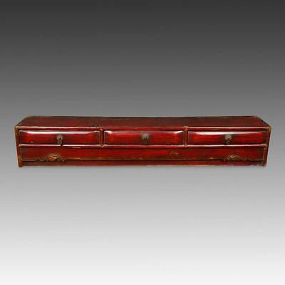 Antique Chinese Qing Dynasty Tabletop Altar Lacquered Elm Wood China  19Th C.