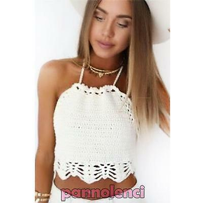 Womens Top short sea casual embroidered crochet knitted bra new DL-1716