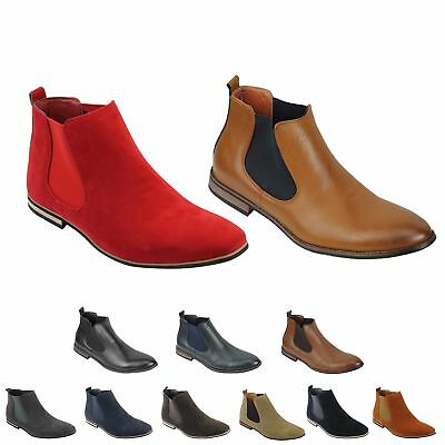 Mens Suede Chelsea Leather Boots Italian Style Smart Casual Desert Ankle Shoes