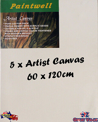 5 x Blank Artist Stretched Canvas 60X120cm Heavy Duty 38mm Thick - SCS-2448B