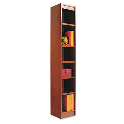 Narrow Profile Bookcase, Wood Veneer, 6-Shelf, 12 x 72, Medium Cherry