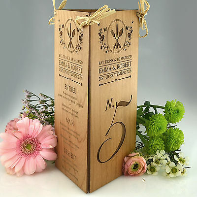 Personalised Favours Rustic Wedding Reception Table Numbers and Menu Centerpiece