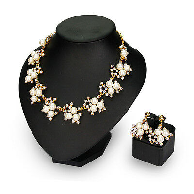 Gold Color white Pearl Rhinestone Flower Necklace Earring Fashion jewelry sets