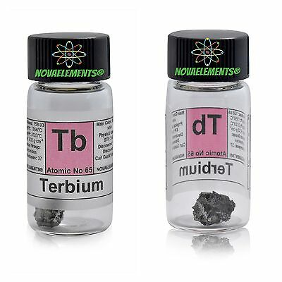 Terbium metal element 65 Tb sample 1 gram piece 99,99% inside labeled glass vial