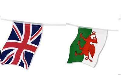 Massive 33Ft Wales Welsh Dragon & Union Jack Flags Bunting