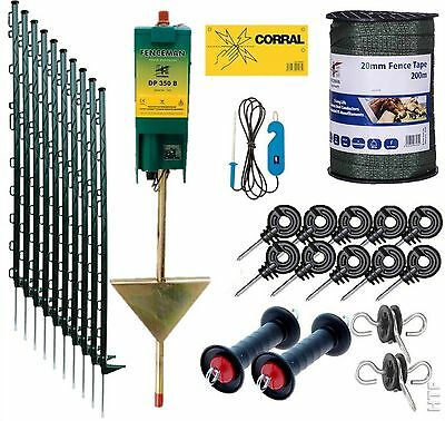 Electric Fence Starter Kit With Fenceman Energiser 3Ft Posts 20Mm Tape In Green