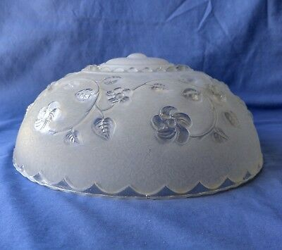 Vintage Art Deco Glass Light Shade, Floral Design, Clear/frosted 3-Holes To Hang
