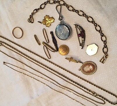Vtg Victorian 16 Pc Lot Jewelry Pins Watch Hook Shell cameo Bar,Lingerie Necklac