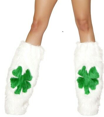 Fluffy Furry Shamrock Leg Warmers Fluffies St Patrick's Day Rave Wear fnt