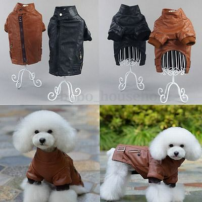 Handsome Pet Dog Puppy Leather Winter Warm Coat Jacket Clothes Costume Apparel