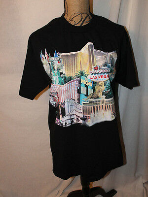 MGM Mirage Las Vegas Tee Shirt Black Adult L EUC Glitter Lion Water Fountain