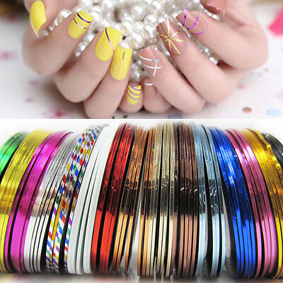 10 Pcs Mixed Rolls Striping Tape Line Nail Art Decoration Sticker for DIY