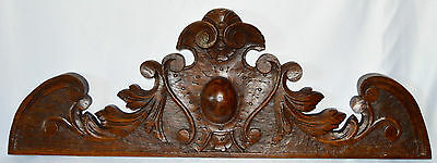 Antique French Carved Oak Wood Pediment - Shabby Chic Decor