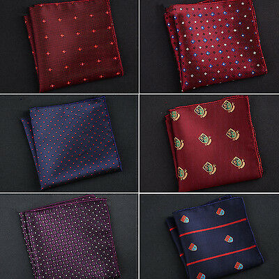 N Men Pocket Square Hankerchief Paisley Dot Floral Hanky Wedding Party Fashion