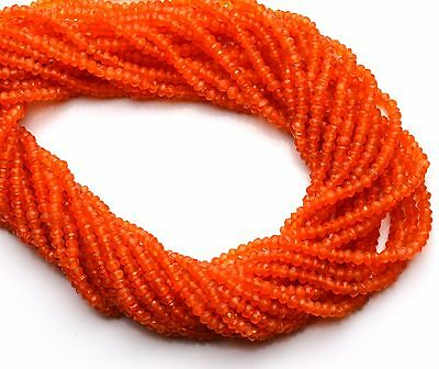 """Super Quality Natural Gemstone Carnelian Micro Faceted 3.5MM Rondelles Beads 13"""""""