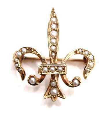 Victorian Seed Pearl Fleur De Lis Watch Pin 14k Yellow Gold English