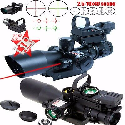 Tactical 2.5-10X40 Rifle Scope Red Laser&Holographic Green laser with battery