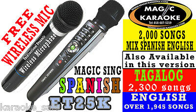 Free WIRELESS DUET MIC NEW MAGIC SING ET25K 2,000 MIX SPANISH and English Songs
