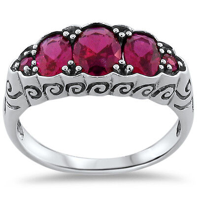 Antique Nouveau Style Lab Ruby .925 Sterling Silver Ring Size 9, #254